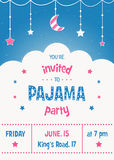 Pajama Party Invitation Card Template with Stars, Moon and Clouds Stock Image
