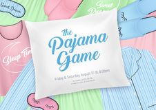 Pajama Party Invitation Poster. Pajama party for kids invitation template with nightwear elements and sleepover date on pillow background vector illustration stock illustration