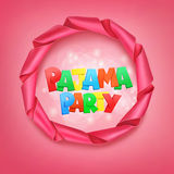 Pajama party lettering with ribbon frame Stock Photo