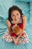 Pajamas bear top view happy Royalty Free Stock Photography
