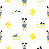 Pajamas boy pattern with tilda sailor dog seamless vector. Royalty Free Stock Image