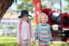 Pajamas day at school. Kids in pyjama at preschool. Pajamas day at school. Kids wearing pyjama at preschool for educational fun event. Boy and girl in sleep wear stock photography