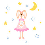 Pajamas illustration with tilda bunny, bear plush toy vector for apparel print. Cute child cartoon style decoration Stock Images