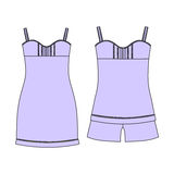 Pajamas jersey. shorts and top.  clothes. Women`s homewear. Royalty Free Stock Photos