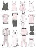 Pajamas and nighties. A set of womens pajamas and nighties Royalty Free Stock Photography