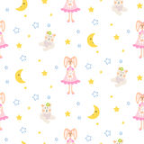 Pajamas pattern with tilda bunny, bear plush toy seamless vector. Cute child style textile fabric cartoon ornament background for bed linen, clothes and kid Royalty Free Stock Images