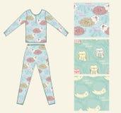 Pajamas. Set of seamless pattern with sleeping animals pajamas Stock Images