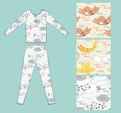 Pajamas. Set of seamless pattern with sleeping animals pajamas Royalty Free Stock Photography