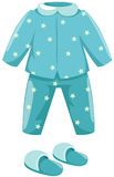 Pajamas with slipper. Illustration of isolated  pajamas with slipper on white background Royalty Free Stock Photos