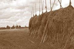 Pajar grande en el prado imagen de archivo