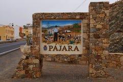 Pajara的城市输入的标志 免版税库存照片