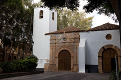 Pajara, the white church of Nuestra Senora de Regla in Fuerteventura,Canary Islands. The church was built from 1687, above the door the Aztec type symbols, Spain stock images