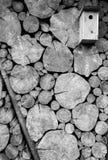 Pajarera de madera con el fondo de la pared del registro Imagen de archivo