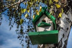 Pajarera en un árbol en nidal del pájaro del bosque del otoño en árbol Fotos de archivo