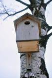Pajarera para los pájaros en un árbol Imagen de archivo