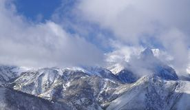 Pajares snow. Mountain landscape with snow and fog Royalty Free Stock Photos