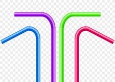 Pajas de beber fijadas Vector la paja plástica del tubo colorido del tubo para el jugo, cóctel Foto de archivo