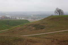 Pajauta valley in Kernave. Pajauta valley, the mounds and Neris near Kernave. Kernave was a medieval capital of the Grand Duchy of Lithuania and today is a Royalty Free Stock Photos