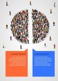 Pajdiagrammet som komponerades av folk, delade i halva Statistik och demographicsinfographics stock illustrationer