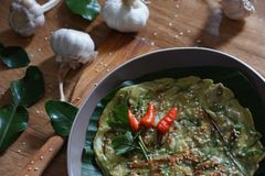 Pajeon der koreanische Frühlingszwiebelpfannkuchen stockbild