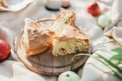 Pajer med äpplen utomhus, frukost i trädgården Trevlig ny mat och korg på gräset royaltyfria foton