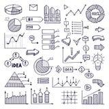 Pajgraf, diagram och diagram Affärsillustrationer i hand dragen stil vektor illustrationer