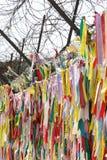 PAJU, KOREA - MAY 8, 2014: writing on the straps in Imjingak, Ko Royalty Free Stock Images
