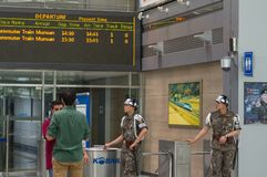 PAJU, SOUTH KOREA - JUNE 21, 2013: Dorasan Station - train station that connects North and South Korea but is not in use because o stock image