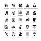 Pak Bedrijfs en de Financiënpictogrammen van Glyph Vector Illustratie
