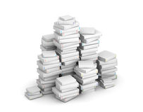 Pak of blank books. Many books with blank titles, stacked in columns royalty free stock photos