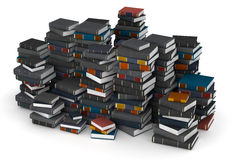 Pak of books. Many books, stacked in columns royalty free stock photography