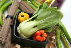 Pak choi. An asian cabbage called pak choi and some other vegetables Stock Photo