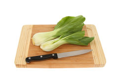 Pak choi on a board Stock Photos