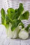 Pak Choi. Chinese cabbage in front of braided basket Stock Photography