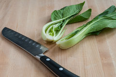 Pak choi in half Royalty Free Stock Photography