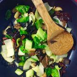 Pak choi stir fry. With garlic, chili and mushrooms Royalty Free Stock Image
