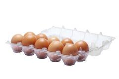 Pak eieren op witte achtergrond Royalty-vrije Stock Afbeeldingen