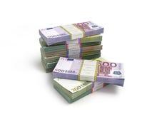 Pak euro bankbiljetten die op wit worden geïsoleerd royalty-vrije stock afbeelding