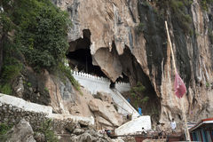 Pak Ou Caves - Entrance to the lower cave view from Mekong river. Stock Image
