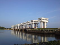Pak Pa Nang floodgate on a  clear sky ,NaKhonSiThammarat,T. Hailand Stock Photo