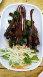 Pak Ped Todd or Fried duckbill. A Thai northeast folk food and like to be food eaten with alcoholic drinks likes beer, usually eats with Esarn sauce or chili stock images