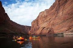 Pak Rafting Glen Canyon, Arizona stock afbeelding