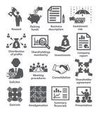 Pak 43 van bedrijfseconomiepictogrammen stock illustratie