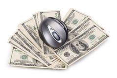 Pak van dollars en computermuis Stock Afbeelding