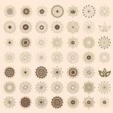 Pak van het embleemmalplaatje van 49 transparant licht ivoor abstract geometrisch bloemen Royalty-vrije Stock Foto's