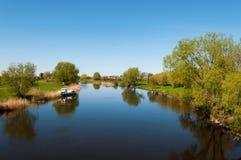 Pakalne river. Small river Pakalne reflects blue sky, rusne island, lithuania Royalty Free Stock Photography