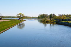 Pakalne river. Small river Pakalne reflects blue sky, rusne island, lithuania Royalty Free Stock Images