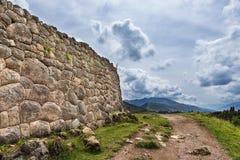 Pakapukara ruins, near Cuzco, Peru. Ancient Inca stone wall in the Pakapukara ruins, near Cuzco, Peru Royalty Free Stock Photography