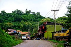 Pakbeng,湄公河的,老挝地方村庄 库存照片