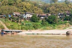 Pakbeng Laos, Mar 04 2015, -: Widok Pakbeng wioska Villag Fotografia Royalty Free